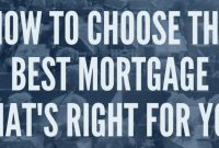 How to Choose the Best Mortgage for You .